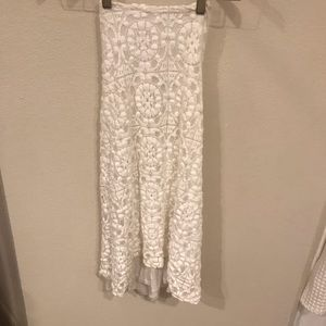 Zara Collection White Lace Low Back Halter Dress